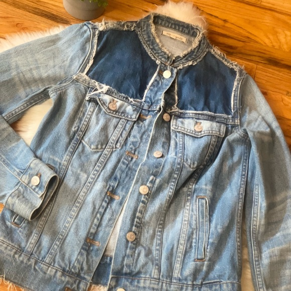 MADEWELL Blue Jean Jacket w patches and fringe (S)